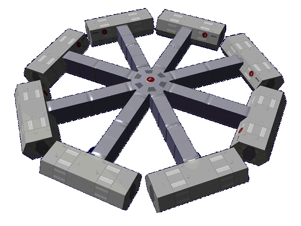 Hub with eight CRDM