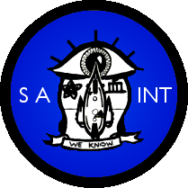 """SAINT's emblem is consists of a black-bordered blue disc with a large eye in the center. The eye is 'crying' the teardrop-shaped Yui-Class Scout, which is flanked by the Imperial Kikyo (bellfower) and the kanji for 'blood.' A banner below these has the SAINT motto, 'We Know.''"