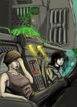 Crash, Amelia, and Sienna in the cockpit