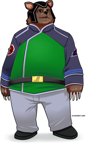 Kodian warrant officer in science green version of the uniform