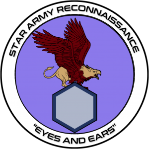 """The Ranger patch features a deep blood red feathered griffin standing atop a hexagonal block, said block frequently replaced with a regimental symbol.  Ringing the emblem, the words 'STAR ARMY RECONNISSANCE' stands atop the emblem, and the words 'EYES AND EARS' sit at the bottom."""