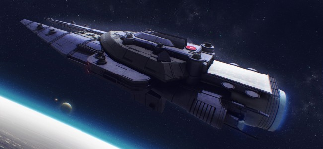 image of a Star Army space battleship orbiting a planet